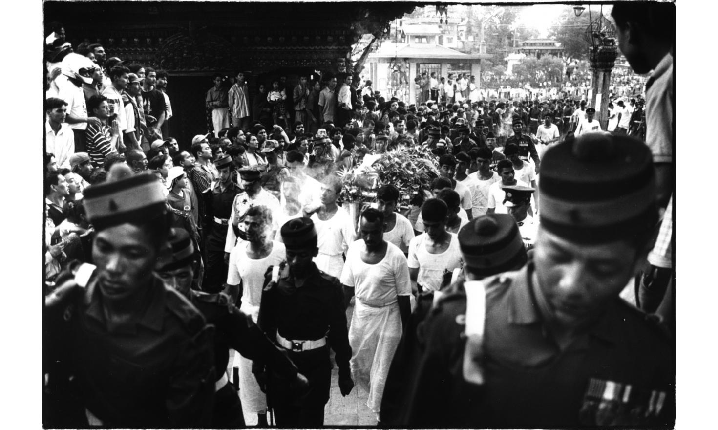 Funeral procession of the bodies of King Birendra and his wife around the city of Kathmandu, 2d of June 2001