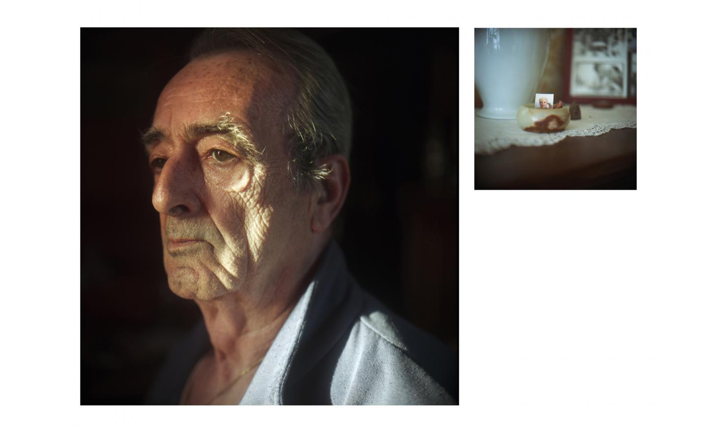 My parents, Robert Dherbeys (1944-) and a portrait of Jacqueline Dherbeys at home (1940-2007) April 2015