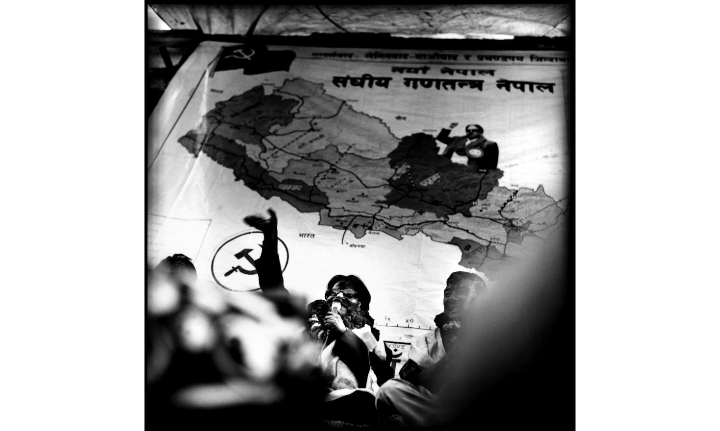 Prachanda, leader of the CPN-Maoist in Kirtipur near Kathmandu, where he came to thank his electors to have voted for him during the Constituant Assembly elections. 19th of April 2008