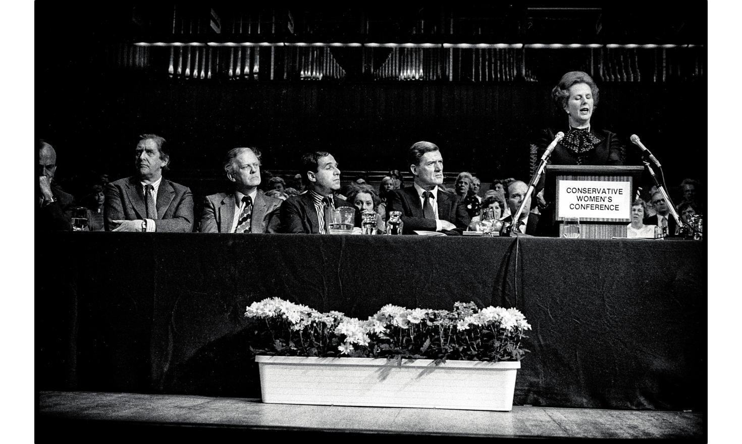 """Prime minister Margaret Tatcher at the""""conservative Women's Conference"""". The""""Iron Lady"""" has just sent the british army to the Falkland Islands (malvinas), invaded by the argentine army. London, United Kingdom. May 26, 1982"""