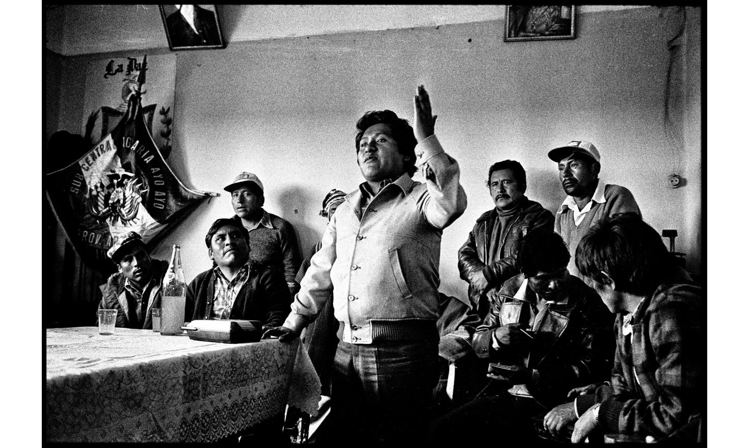 Peasants Day. Ahead of the leader of the peasant union, a union member makes a speech to mark the 201 anniversary of the death of the leader of the rebellion against Spain Tupac Katari. Ayo Ayo, Bolivia. November 15, 1982