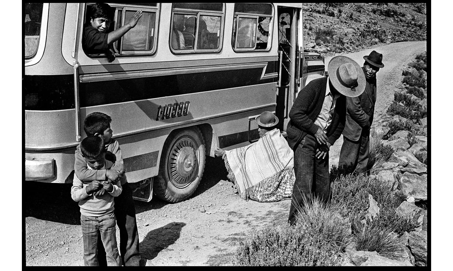 Bus stop on the way to lake Titicaca. Bolivia, november 1982