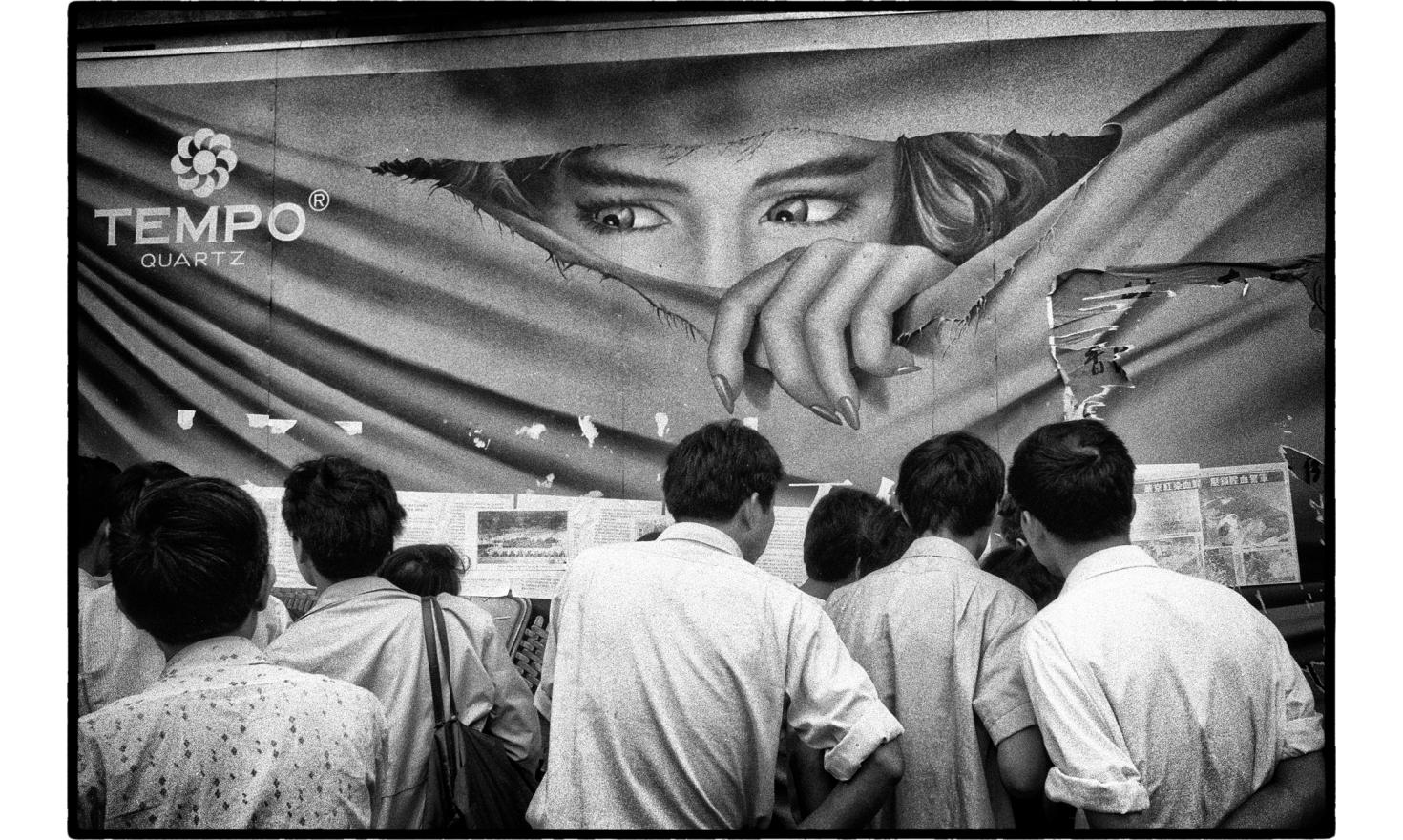 Dazibaos in the streets of Shangaï, China. Demonstrations went on for a few days after the Beijing crackdown. China, June 1989.