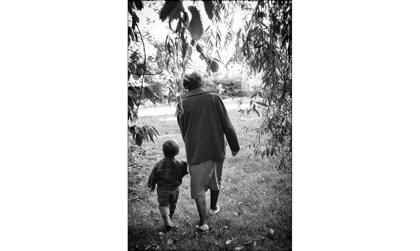 My mother walks with my son Leo, two years old. Igny, september 1994.