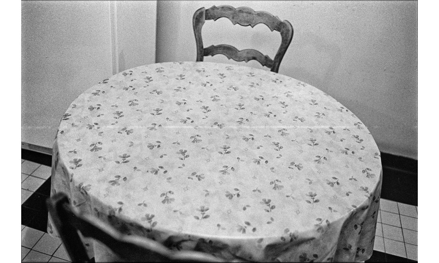 The kitchen table with its oilcloth filled with shamrocks. Igny, January 2003