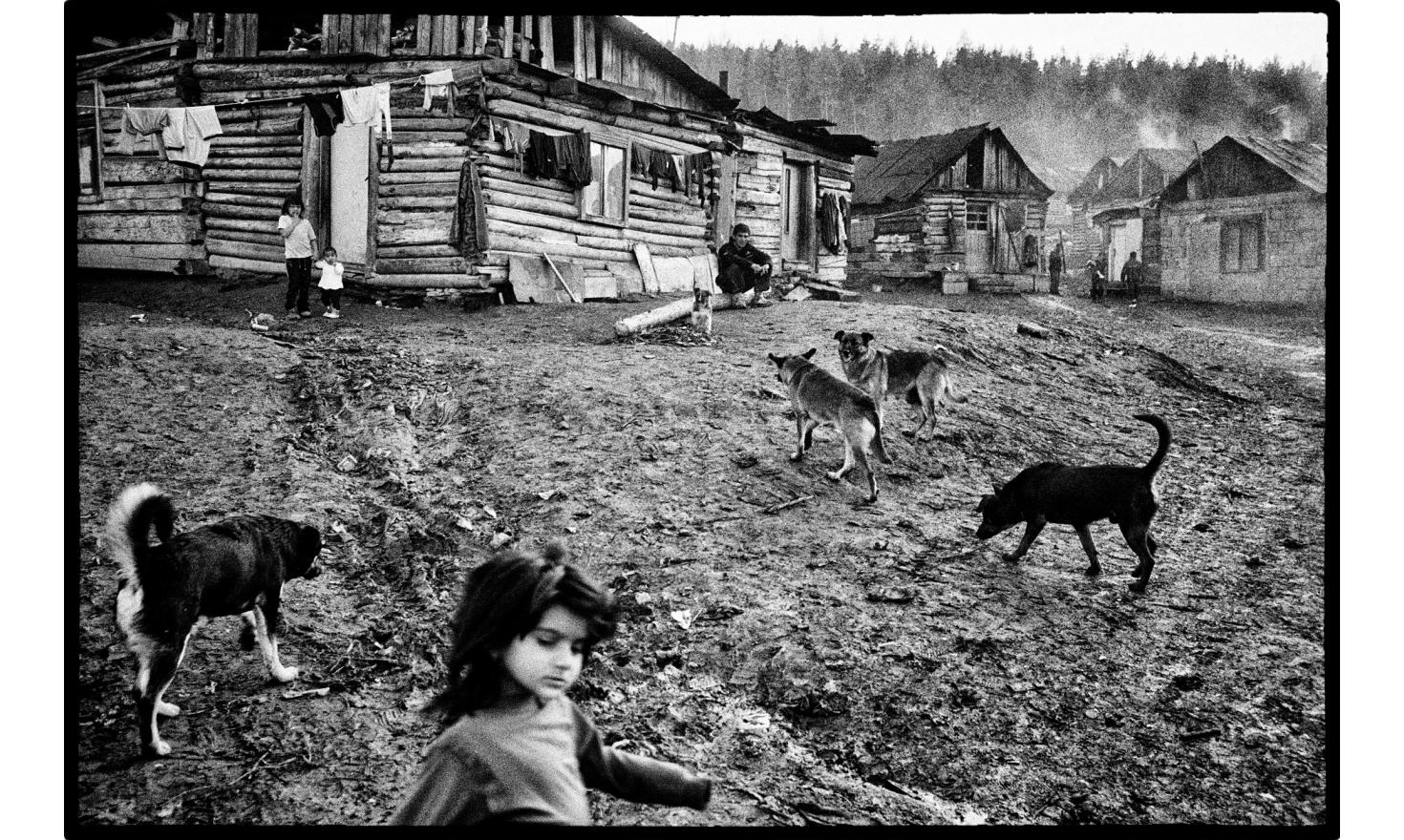 """""""Roma osada"""", roma district of Letanovce, located at 2 kilometers from the center, at the edge of the National park of the slovak paradise. Slovakia, November 2009."""
