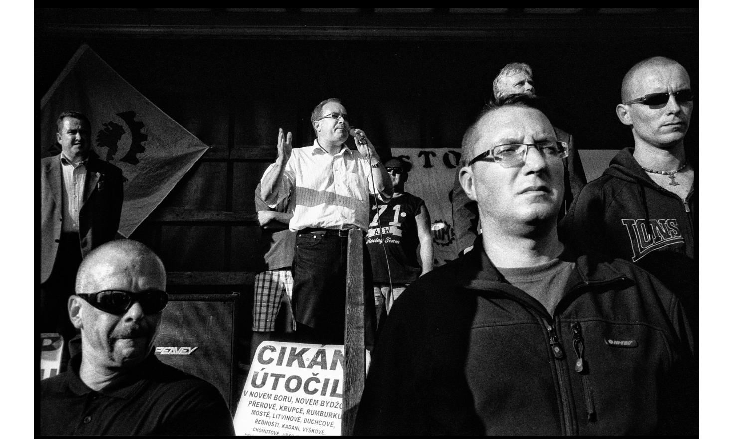 Anti Roma rally organized by neo-nazi party DSSS (worker's and social justice) Speaking is the party's head Thomas Vandas. Varnsdorf, Czech republic. September 2011.