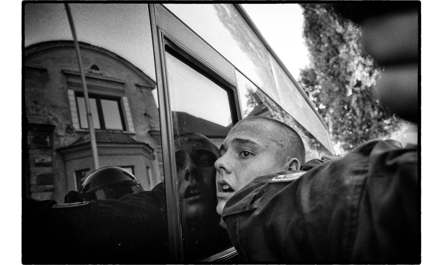An arrest has been made of a neo nazi demonstrator against Roma living in a social hotel.The demonstration turned violent and a pogrom has been avoided by anti riot police. Varnsdorf, Czech Republic. September 2011.