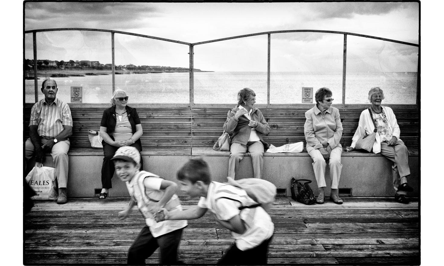 The pier. There are a lot of retired people living in Clacton. Housing and rent are cheap. Clacton on sea, England. July 2016