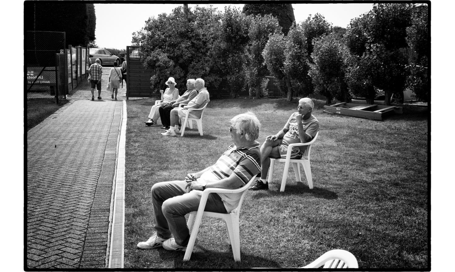 """Spectators at the senoir final, tennis tounament in frinton, a very fancy toxn near Clacton. The Trending district has voted at 65% for the""""leave""""the EU. Frinton, England. July 2016"""
