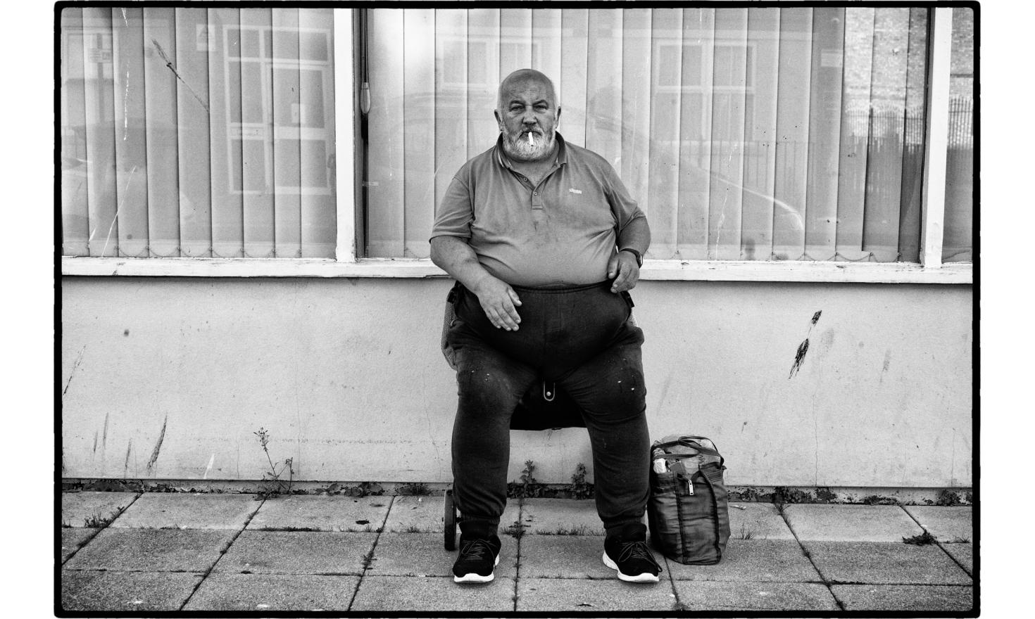 """As I was going to the railway station, very early morning, the man  greeted me with a"""" hello, how are you"""". I realized after that I saw him the night before at the same place. Clacton on sea, England. July 2016."""