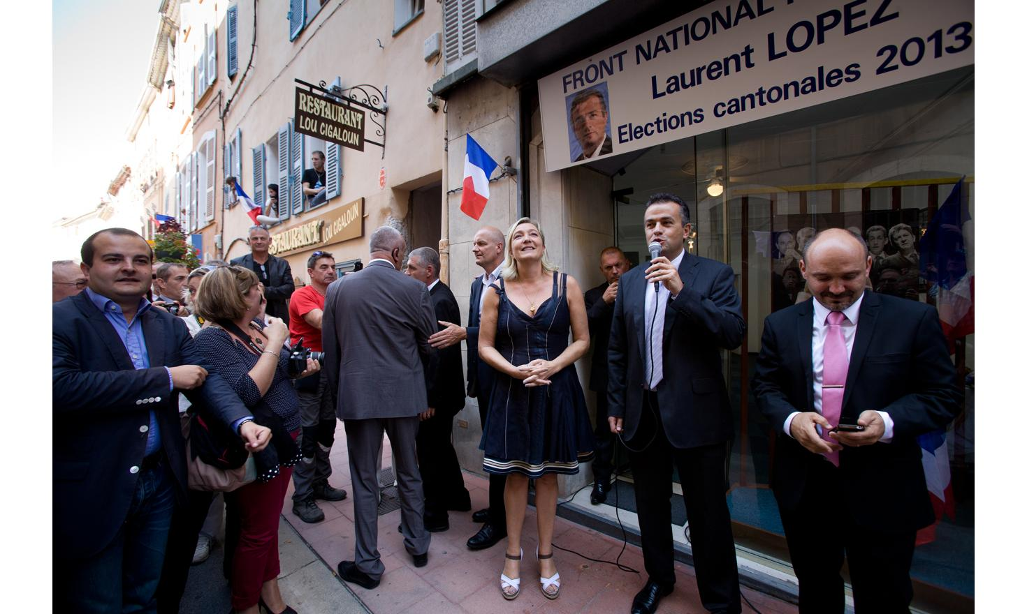 Brignoles, September 27 2013. Marine Le Pen visits activists and Laurent Lopez, candidate for local elections.