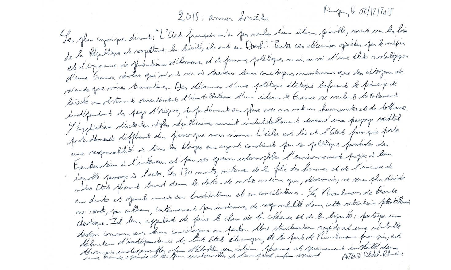 Abdel-Rahmène Azzoui's handwritting text.