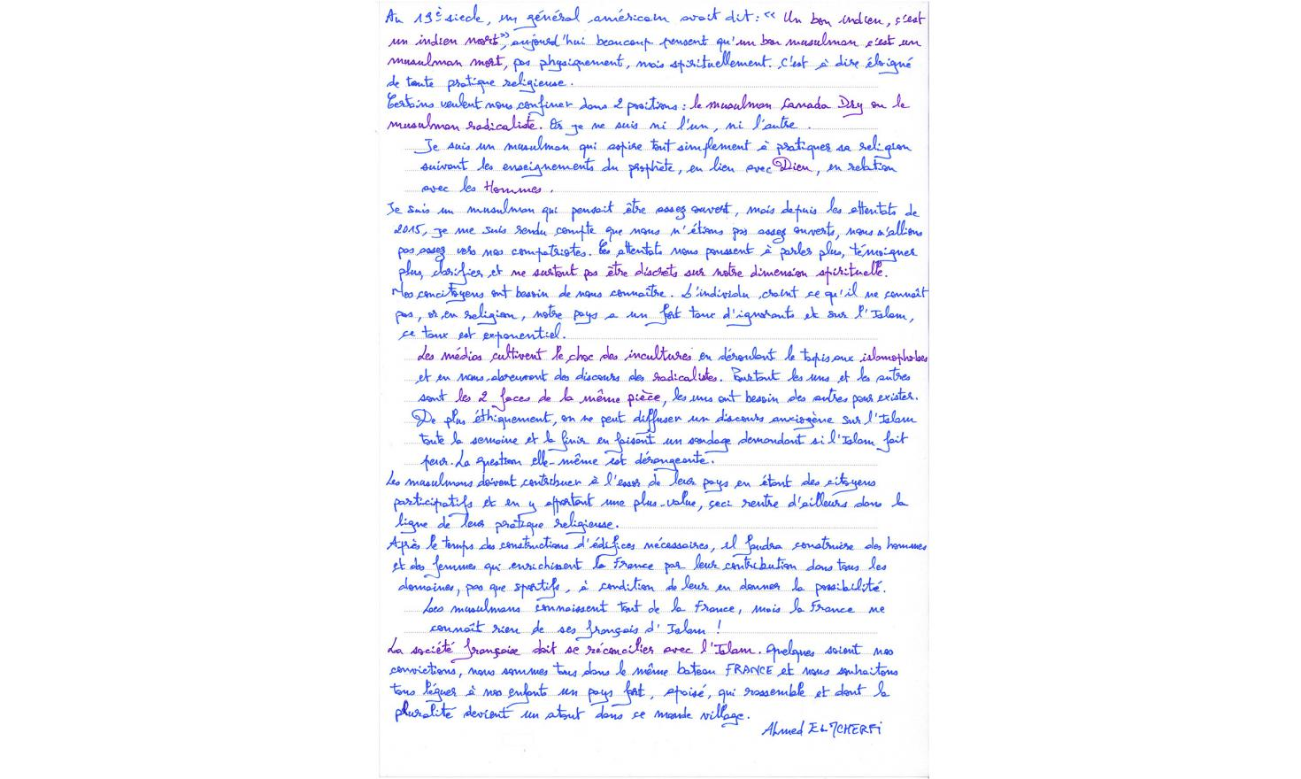 Ahmed Elmcherfi's handwritten text