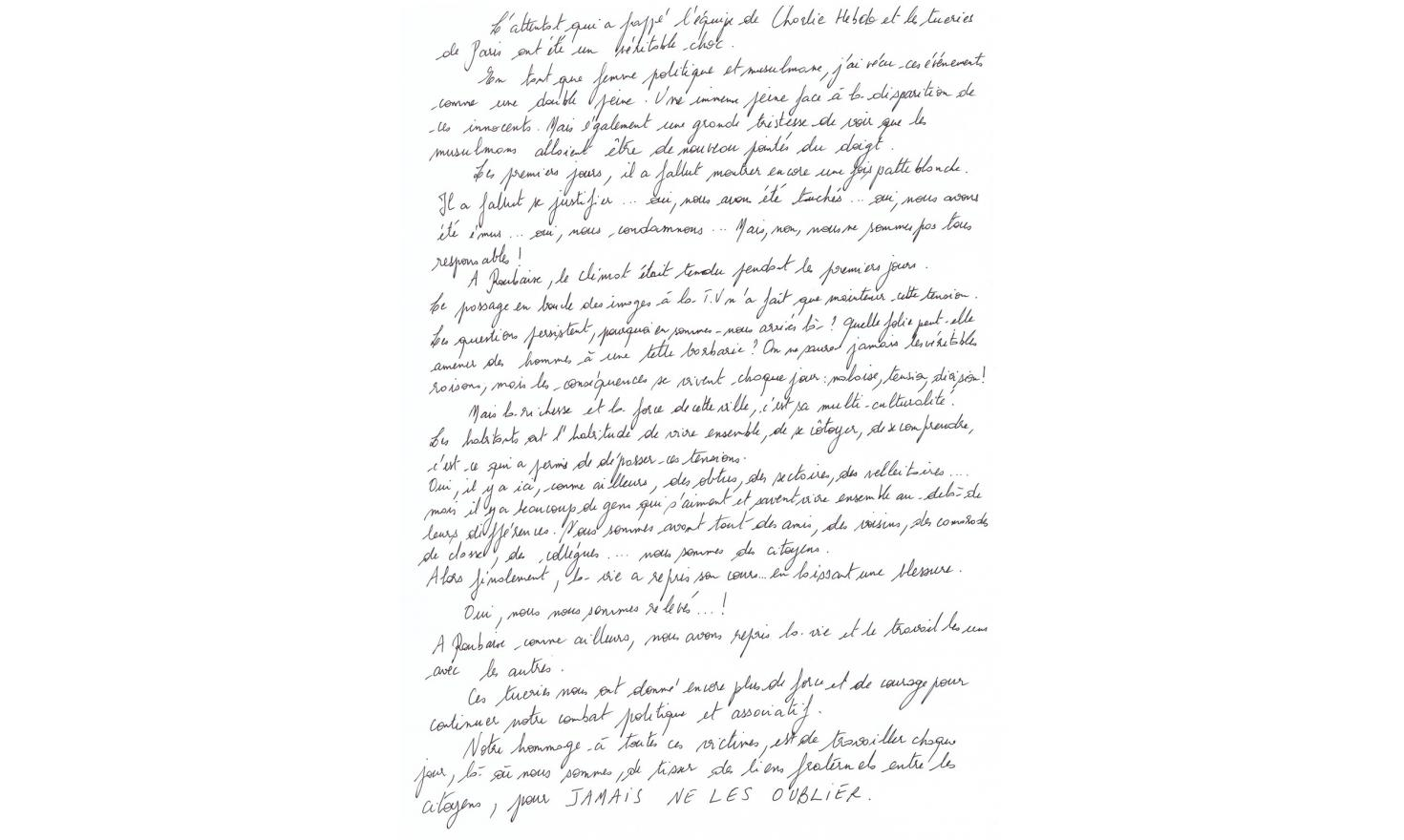 Tounes Rahim's handwritten text
