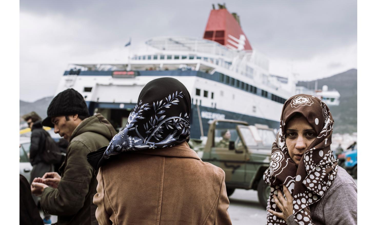 Samos. Refugees waiting for the ferry to Athens