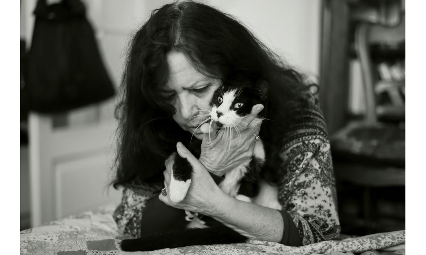 My mother and her cat Leo, le Pré Saint Gervais. May 2015