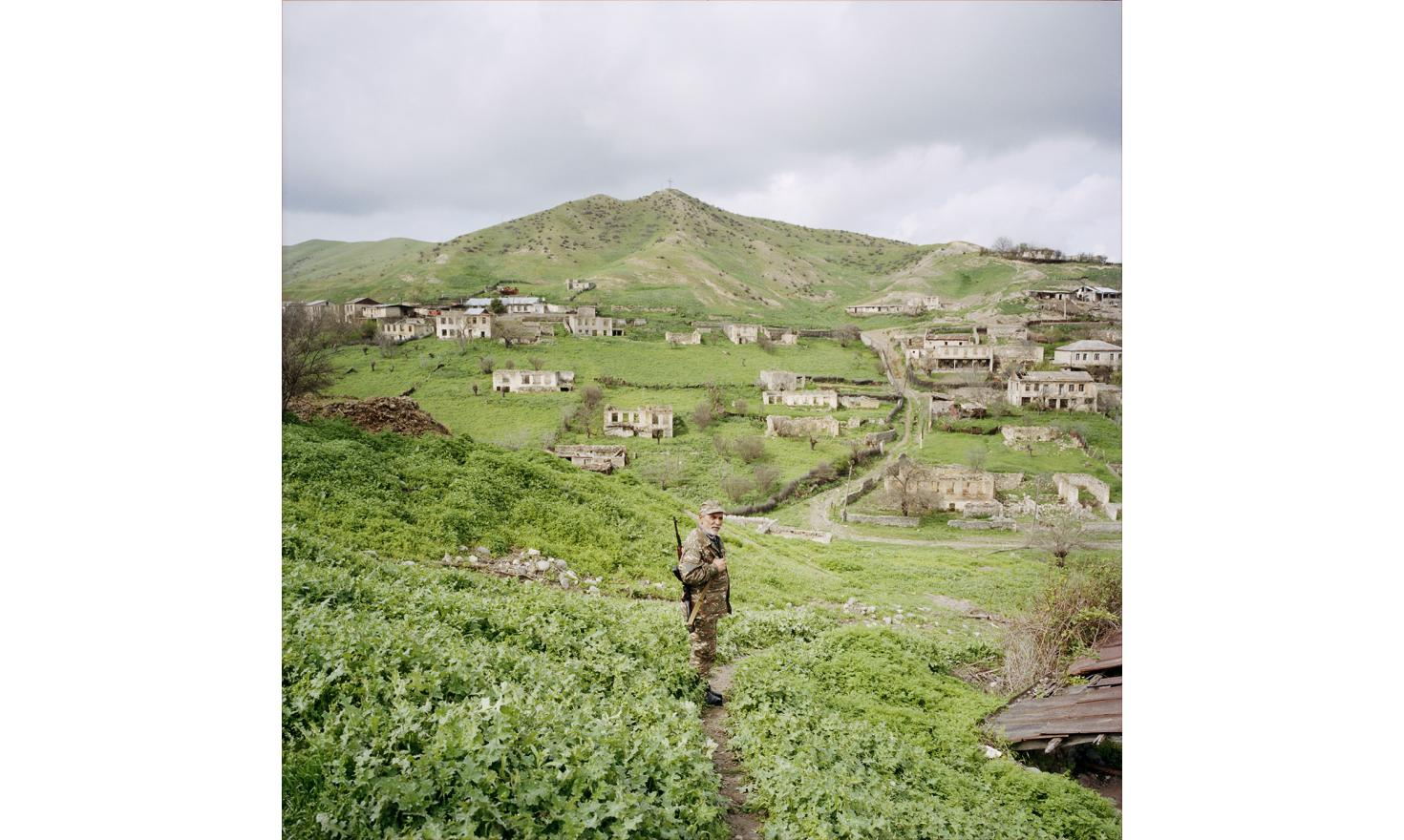 A volunteer native from Talish came back in his village after the april war to defend it. Talish is one of the villages which was bombed by azerbaijan army.