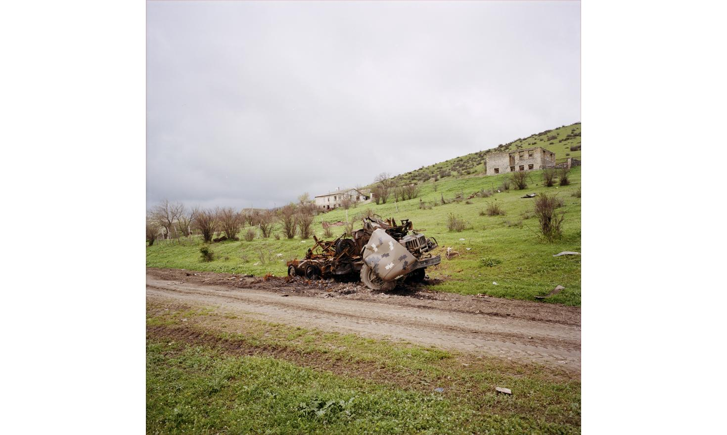 A destroyed military vehicle in Talish