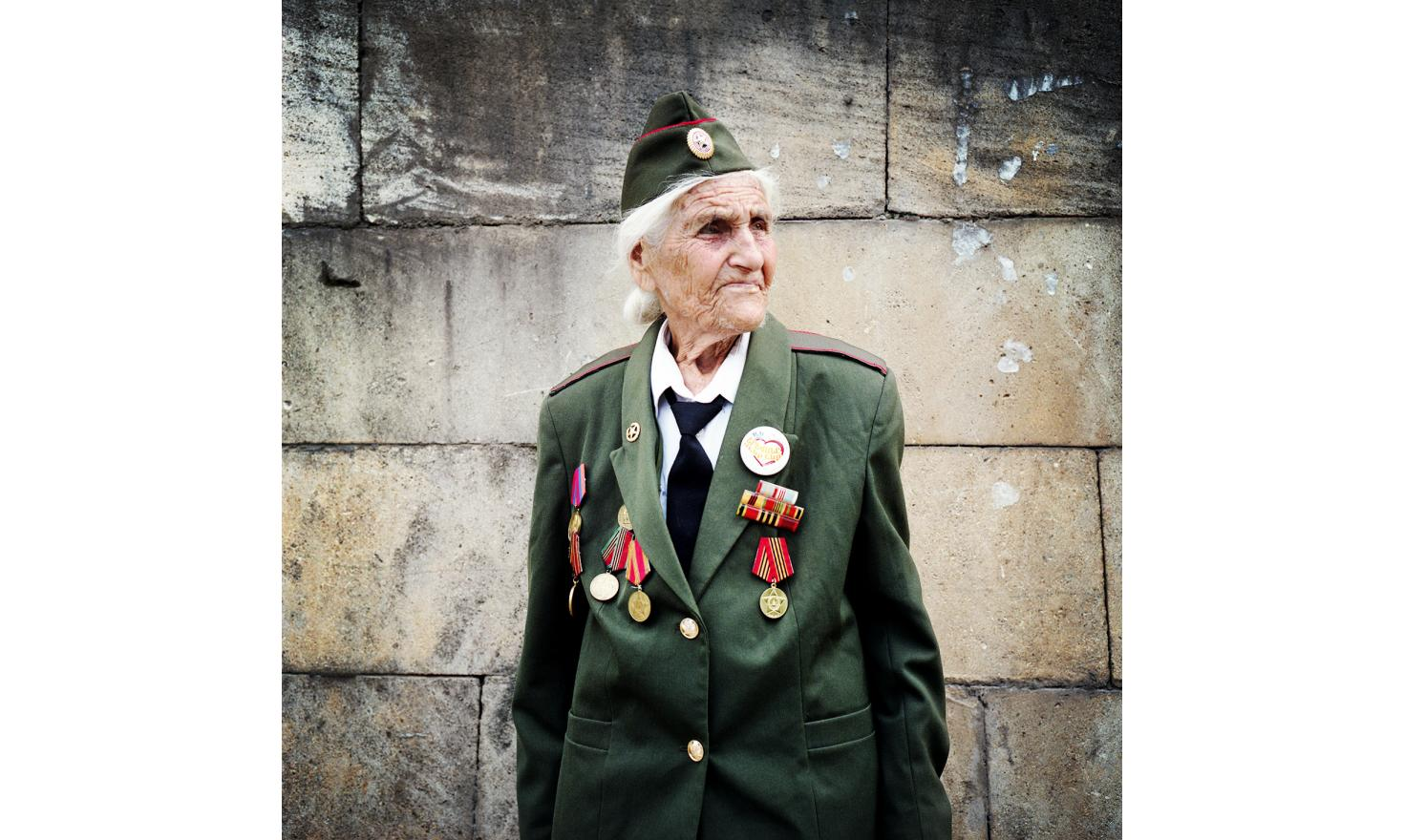 A veteran from the Great Patriotic War with her medals, the day of the commemoration of the 20th anniversary of the independence of Nagorno-Karabagh