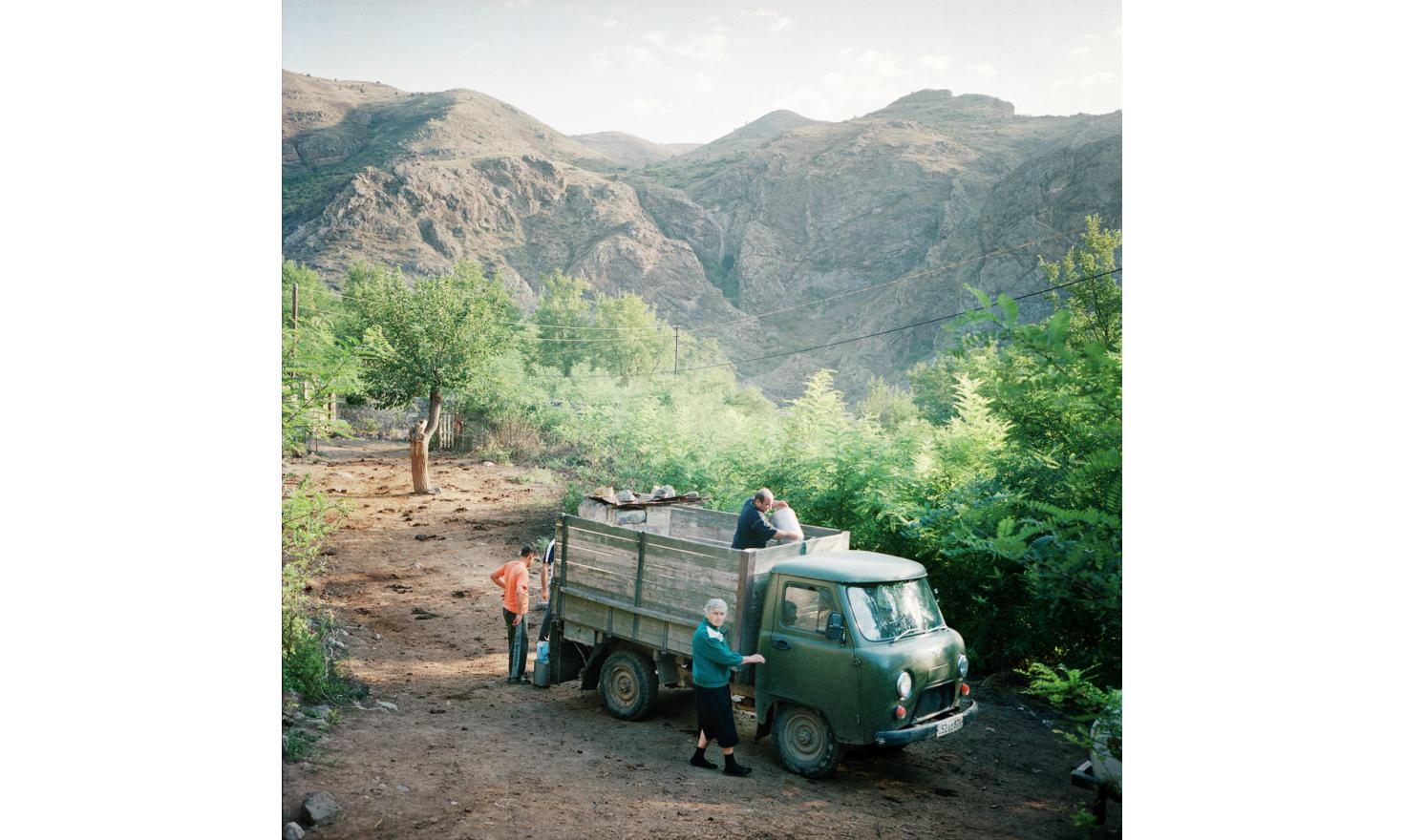 The truck collecting milk in isolated villages in the mountains of Kashatagh (Lachin) province, close to the border with Armenia.