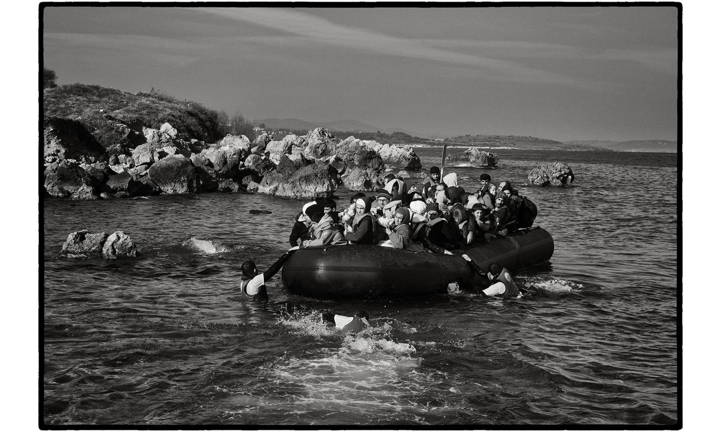 Lesbos, Greece. The Turkish authorities estimate that almost 850000 migrants, mainly Syrians, Afghans and Iraqis, tried to cross to Greece from the Turkish coast in 2015. Hundreds of people arrive on the beaches of the Greek islands every day.