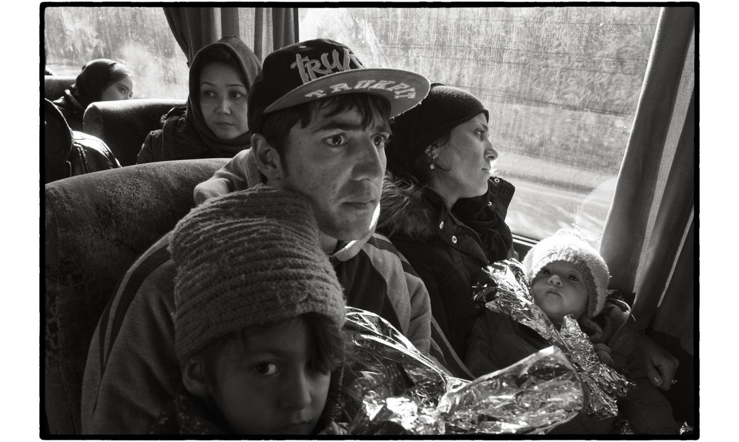 Lesbos, Greece. No sooner do the refugees arrive on the Greek coast than they are taken by bus to the Moria reception centre.