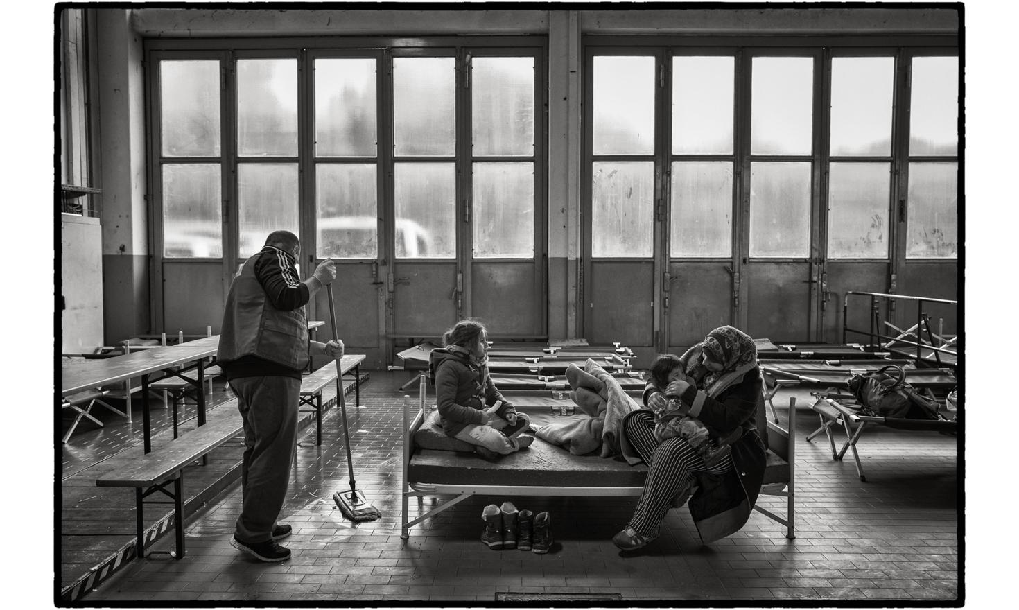 Paul-Hallen' registration centre, Passau, Germany. When the refugees arrive in this small German town on the border with Austria the end of their journey is almost in sight. Here they can finally apply for asylum so they can stay in Europe. At the 'Paul-H
